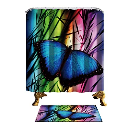 ChuaMi Butterfly Shower Curtain Set Dark Blue On Black Leaves Pink Green Theme