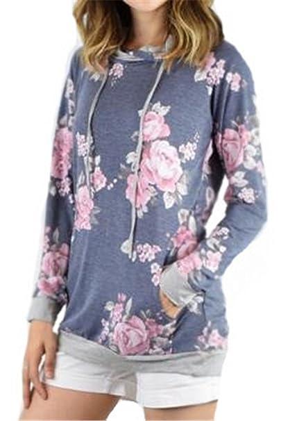 Tayaho Sudaderas Mujeres Camiseta con Manga Larga Camisa Sudadera Flores Blusa Impresa Pullover Hipster Sudadera con Capucha: Amazon.es: Ropa y accesorios