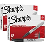 Sharpie Permanent Markers, Fine Point, Black, 2 Boxes of 12 Total of 24 Markers