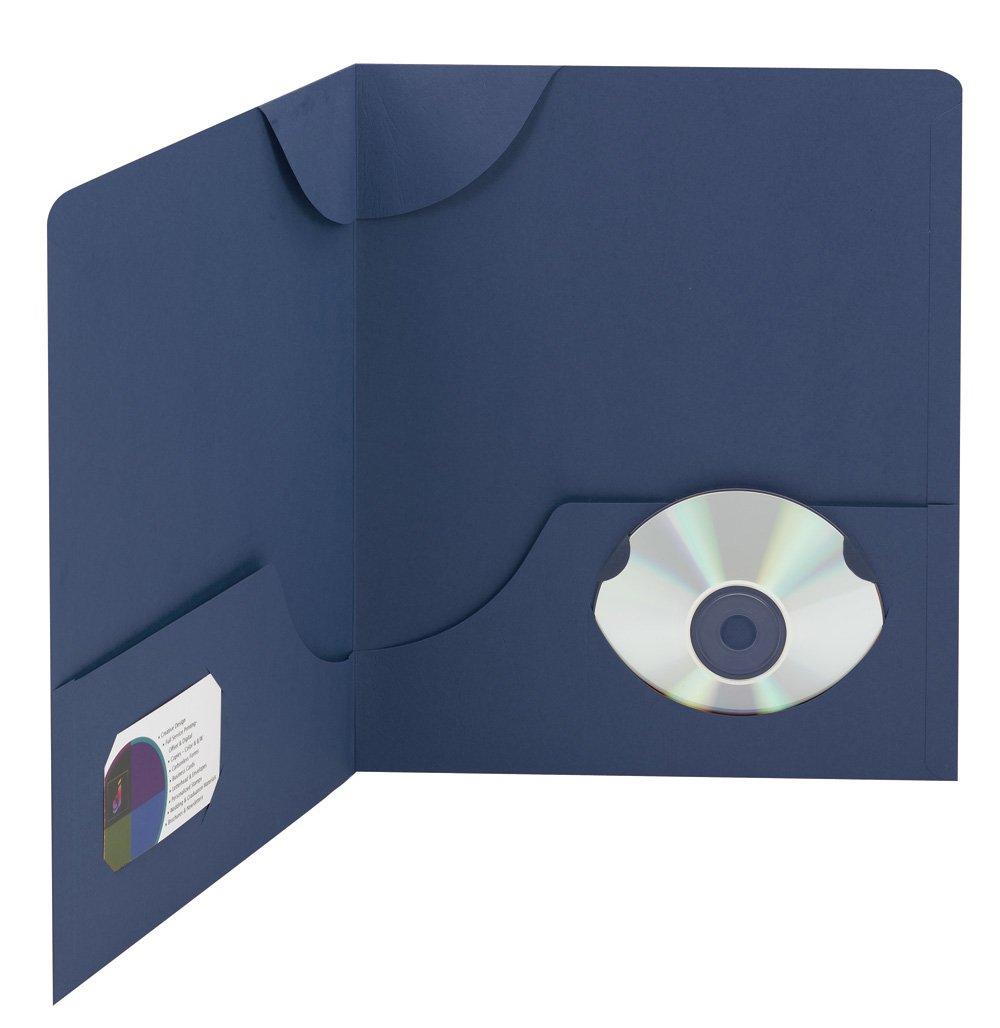 Smead Lockit Two-Pocket File Folder, Up to 50 Sheets, Letter Size, Dark Blue, 25 per Box (87970)