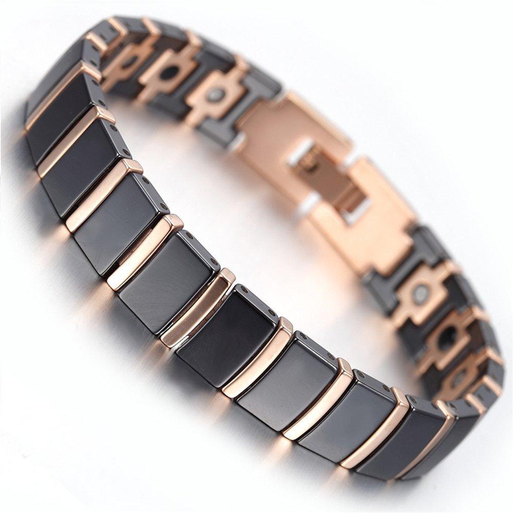 Men's Rose Gold Tungsten Black Ceramic Magnetic Therapy Germanium Bracelet Pain Relief for Arthritis