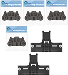 2 W10350376 Top Rack Adjuster & 4 W10195416 Lower Dishwasher Wheel Replacement for KitchenAid KUDS30FXBL1 Dishwasher - Compatible with W10350376 Rack Upper Top Adjuster & W10195416 Dishrack Wheel Kit
