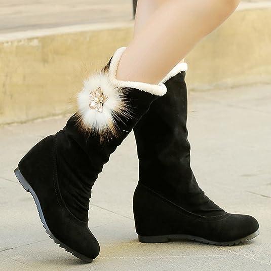 LHWY Damen Stiefel mit Absatz Womens Plüsch Mitte Stiefel