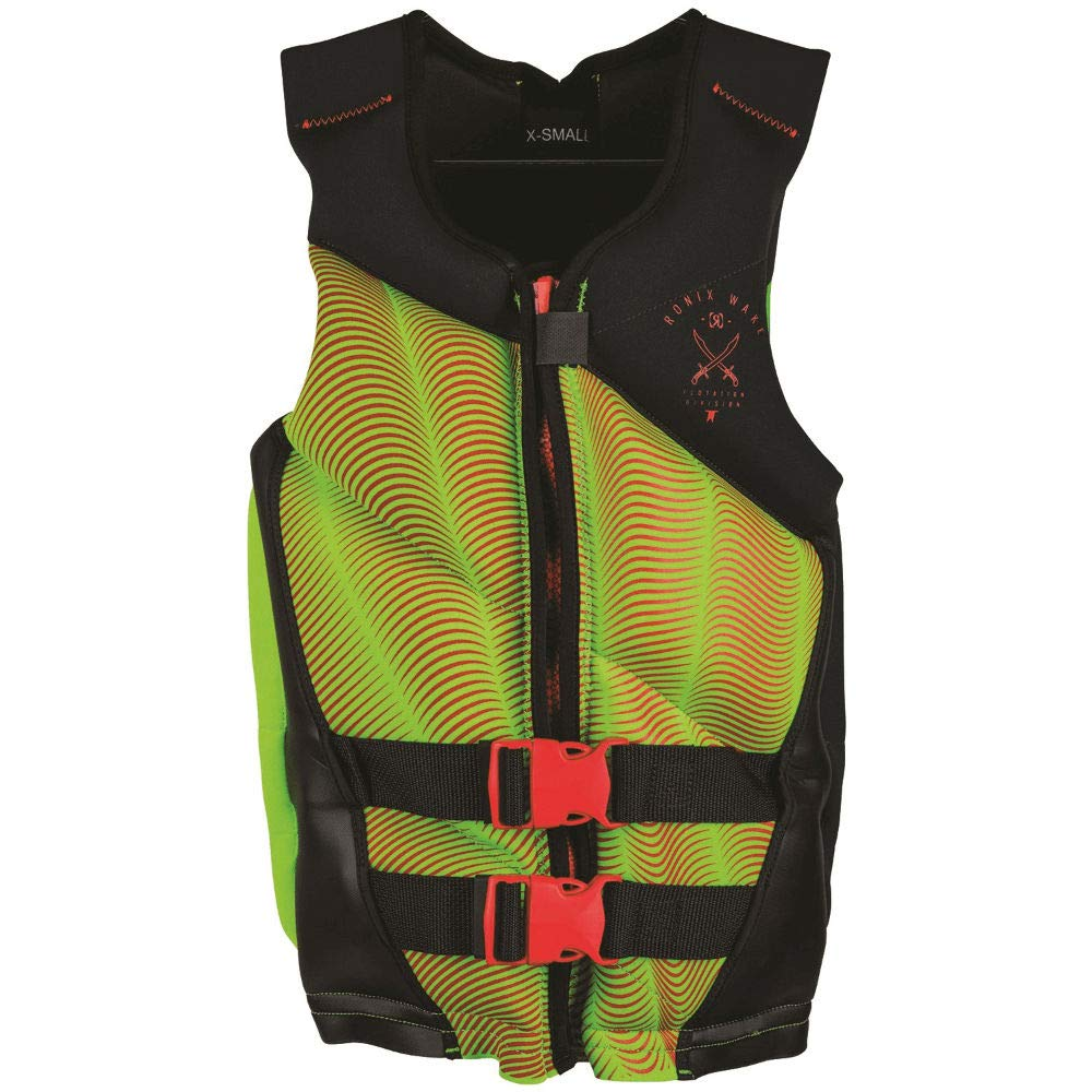 Ronix Driver's Ed Capella - 2.0 CGA Life Vest - Black/Lime / Red - Teen (75-125lbs) (2019) by RONIX