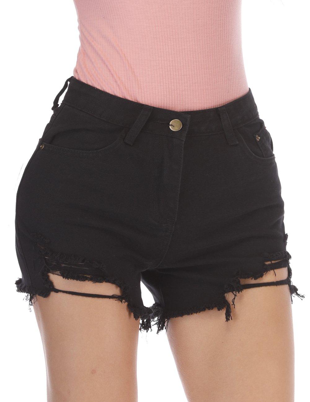 Women's Girls Juniors Summer Casual Basic Shorts High Waisted Distressed Strechy Ripped Jeans ShortsXL Black