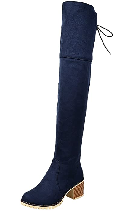 ea6080e50 Botas largas Mujer Casual Cordones Otoño Invierno Bloque Sintética Ante  Cómodo Botas Sobre la Rodilla De BIGTREE  Amazon.es  Zapatos y complementos