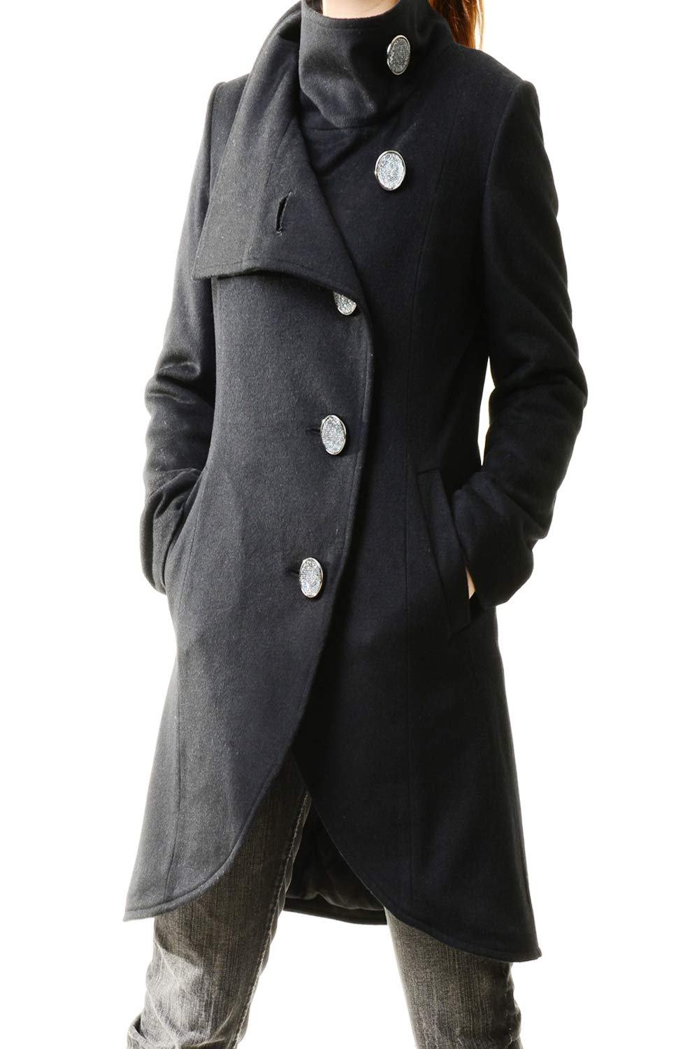 Women's Crystal Buttoned Cashmere Coat Black