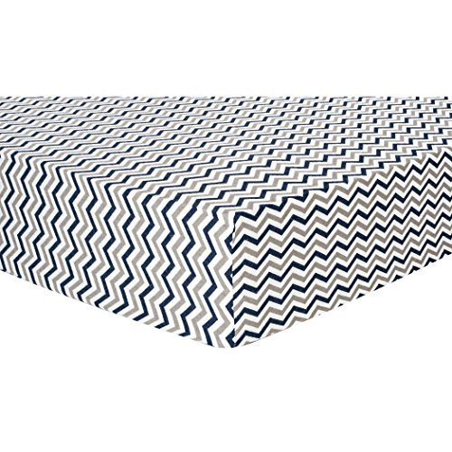 Trend Lab Chevron Deluxe Flannel Fitted Crib Sheet, Navy and Gray, Navy by Trend Lab [並行輸入品]   B01AKZIUNS