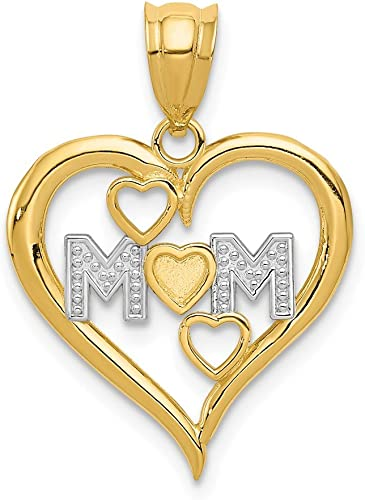 14k Yellow Gold Polished Mom /& Heart In Heart Pendant