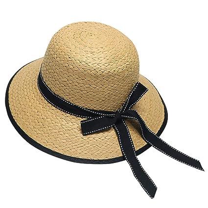 88b19b5b4 Amazon.com: ❤ Mealeaf ❤ Summer Parent-Child Women Baby Kids Girl Beach Bow  Straw Flat Brim Sun Hat Cap(Beige,): Home & Kitchen