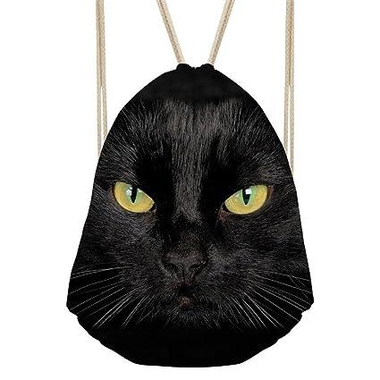 6d0b689018e8 Showudesigns Black Cat Printing Campus Drawstring Bag Highschool Daypack  Workout