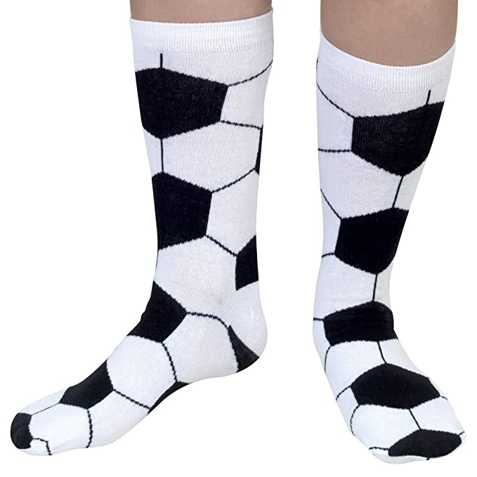 Bits and Pieces - Novelty Socks - Soccer - Silly Socks - Machine Washable - Cotton-Rich Socks, Fun Great Gift - White/Black - Adult Size 6-12