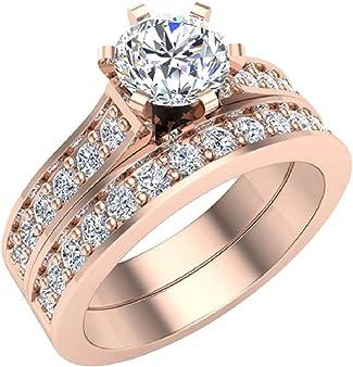 anillo oro rosa con diamante central
