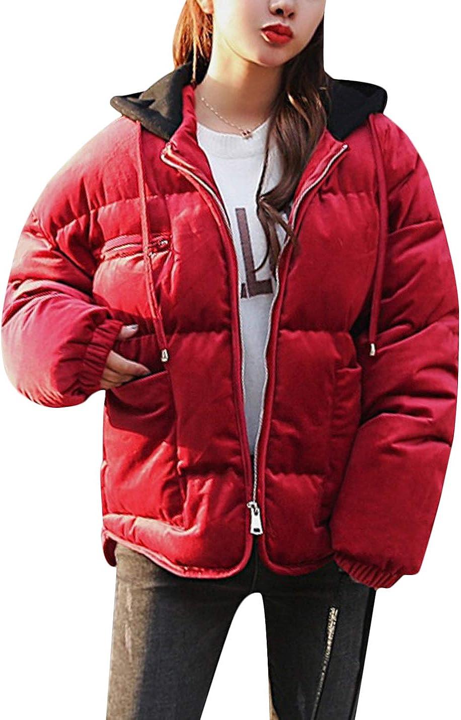 Springrain Womens Winter Velvet Down Quilted Padding Puffer Jacket Windbreaker