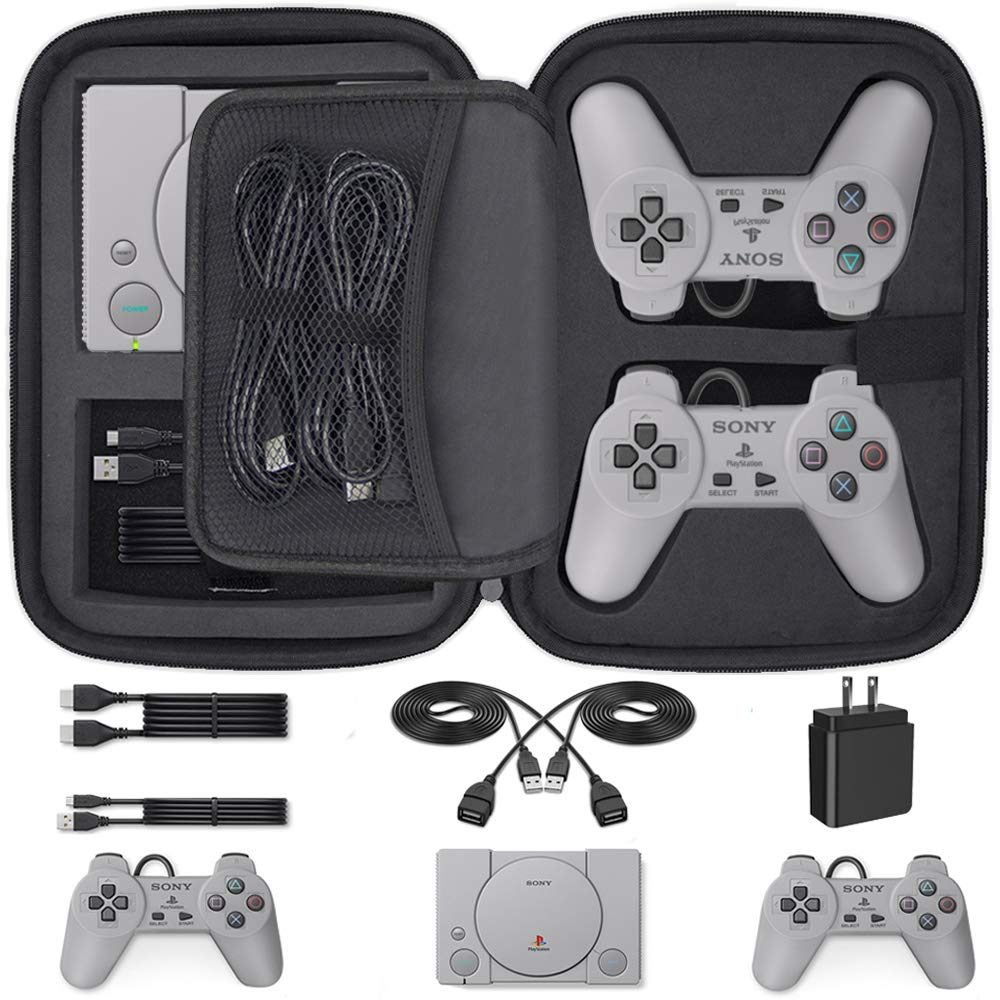 Customized Carry Case for Playstation Classic, Deluxe Carrying Case Storage Perfect Protection for Sony Playstation Classic Mini Console, 2 Controllers and All Other Accessories