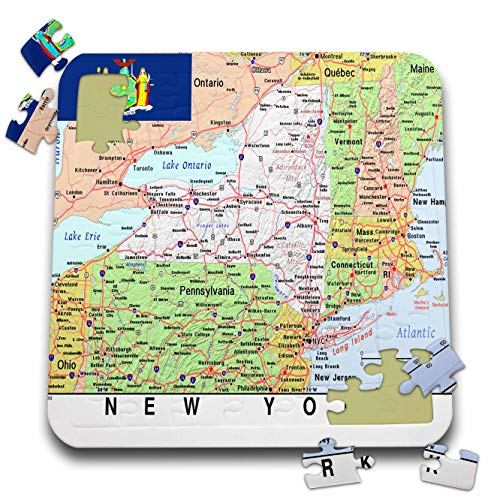 3dRose Topo Maps and Flags Of States - Image of New York Topographic Map With State Flag - 10x10 Inch Puzzle -