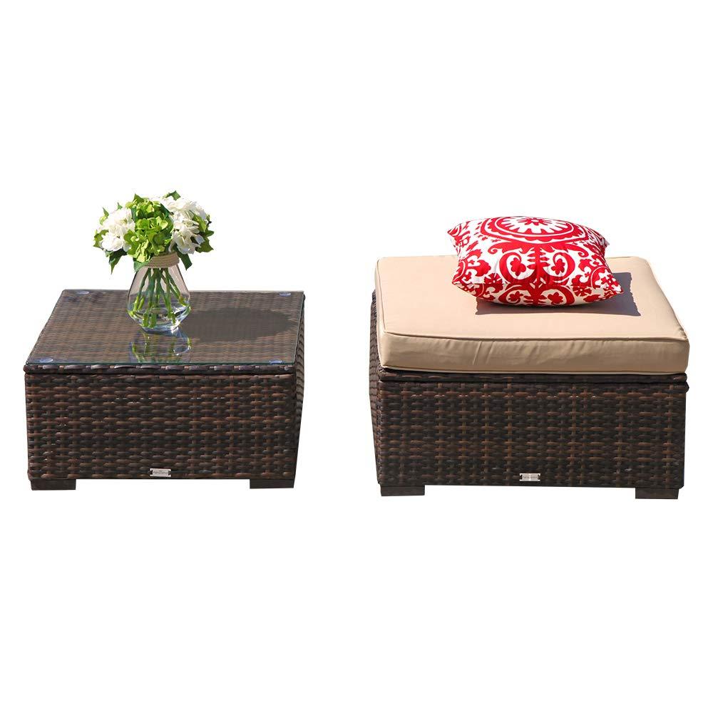 Amazon.com: Juego de 4 piezas de muebles de mimbre de ...
