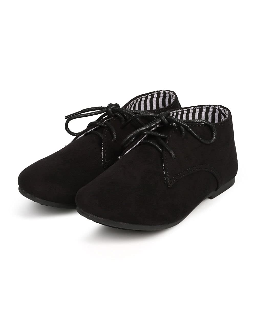Toddler//Little Girl//Big Girl Black Suede Round Toe Lace Up Classic Ankle Oxford Flat DG66 Size: Little Kid 11