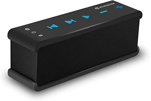 Zoweetek Bluetooth Speaker with AUX Input for Echo Dot, Dual Drivers Stereo  NFC Portable Wireless Speakers with Bass