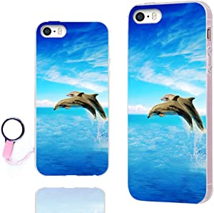iPhone SE Case,iPhone 5S Case,iPhone 5 Case,ChiChiC Full Protective Case Slim Flexible Soft TPU Gel Rubber Cases Cover for Apple iPhone 5/5S/ SE 2016,Blue Ocean Sea Marine Animal Cute Dolphin Jump