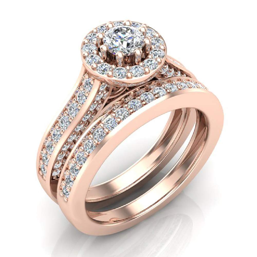 1.15 ct tw Halo with Accent Diamonds Wedding Ring Set 14K Rose Gold (Ring Size 5)