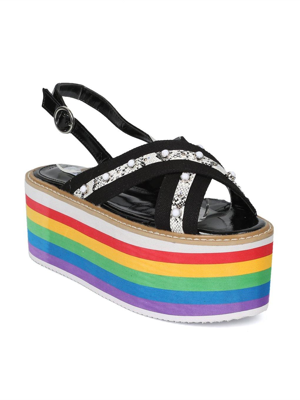 Women Cross Band Studded Rainbow Flatform Slingback Sandal HH93 B07D4QFF66 9 B(M) US Black Mix Media