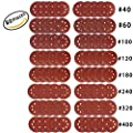 80 Pieces 5 Inch 8 Holes Sanding Discs Assortment Pack Made From Premium Aluminum Oxide, Viaky Grit Sizes 40/ 60/ 100/ 120/ 180/ 240/ 320/ 400 , Discs Pads ,Hook-and-Loop, For Random Orbital Sander …