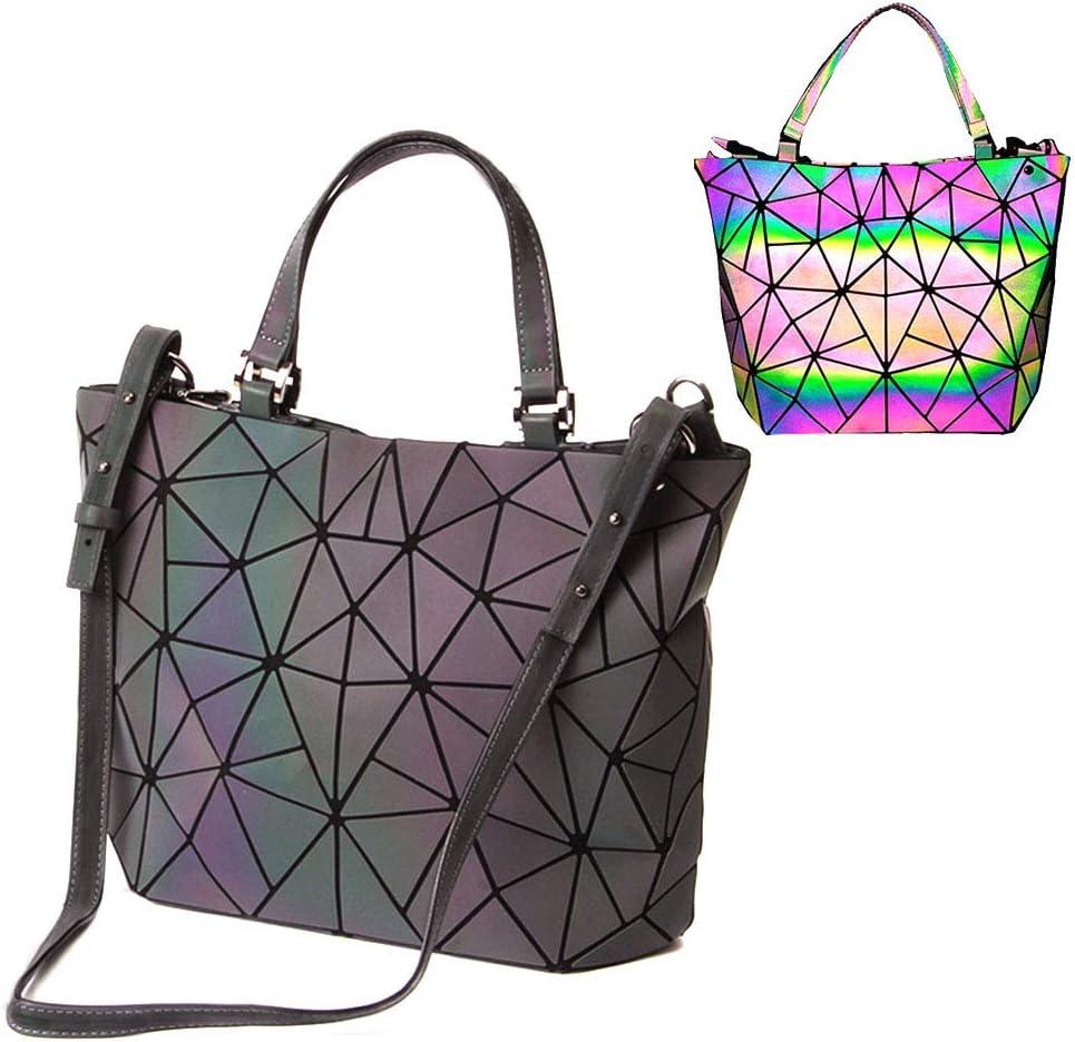 bolsos de cuero de la PU de Luminous Luminous geométricos Shtic Lattice Bolso holográfico de arco iris de cuero ecológico para mujeres Bolso grande (colorful-2)