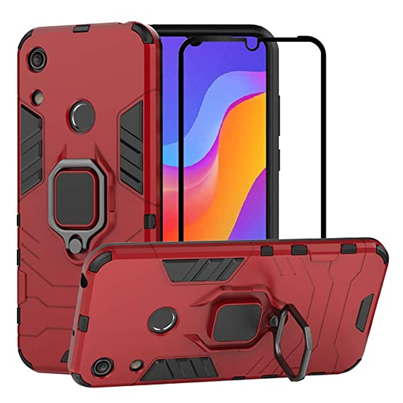 BestAlice for Huawei Honor Play 8A / Honor 8A / Y6 2019 case, Hybrid Heavy Duty Protection Shockproof Defender Kickstand Armor Case Cover Tempered ...