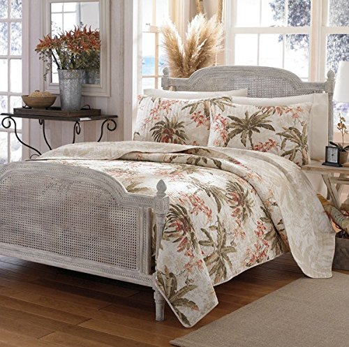 3-Piece-Tan-Palm-Tree-Quilt-Full-Queen-Set-All-Over-Tropical-Ocean-Hawaiian-Flower-Trees-Costal-Island-Bedding-Multi-Floral-Beach-Paradise-Exotic-Flowers-Themed-Leaf-Green-Beige-Salmon-Coral-Pink