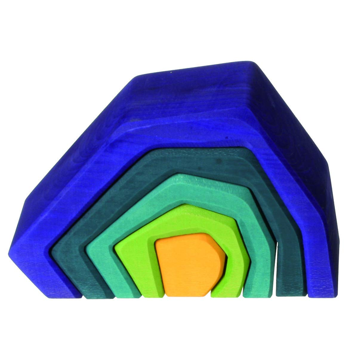"""Grimm's Large Stone Caves Nesting Wooden Sculptural Blocks Stacker, """"Elements"""" of Nature: EARTH"""