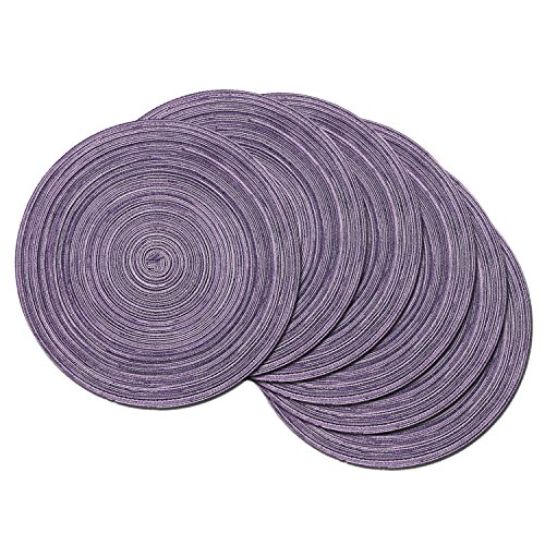 SHACOS Round Table Placemats Set of 6 Round Placemats Fabric Table Mats for Wedding Party (Light Purple, 6)
