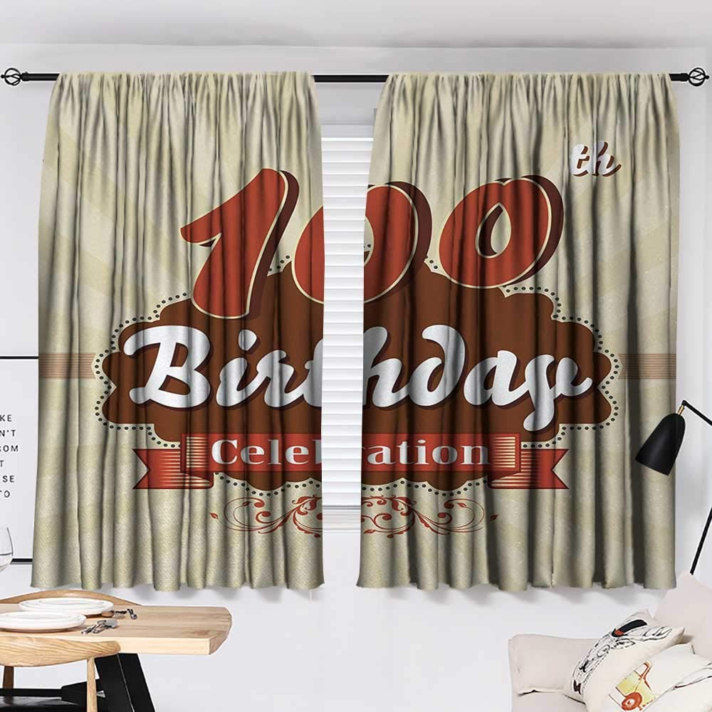 Jinguizi 100th Birthday Two Panels Chocolate Wrap Like Brown Party Invitation Hundred Years Celebration Darkening Darkening Curtains Cinnamon and Cream W55 x L39 by Jinguizi (Image #2)