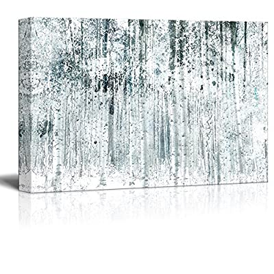 Abstract Style Tall Trees in Forest - Canvas Art