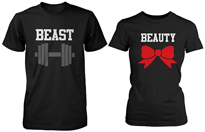 9961e6d7c72 365 In Love Beauty and The Beast - Cute His and Her Matching Black T-Shirts  for Couples