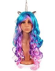 Partido colorido falso pelo largo ondulado peluca rizada larga cabeza completa de la peluca para Girl