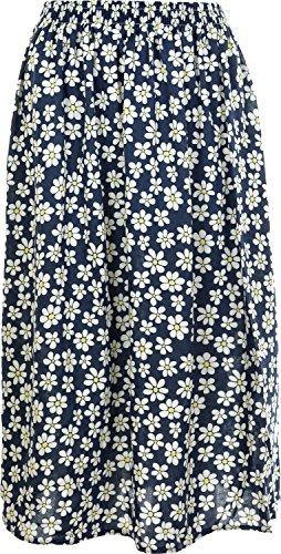 Femme Imprim Floral d't pour femme Jupe en Tissu en Viscose lger, doux et lastique, Longueur 68,5 cm Navy-3