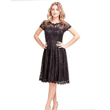 5019ca1759aa BELLA PHILOSOPHY Women Summer Elegant Short Sleeve Lace Skater Dress Party  Dress Plus Size