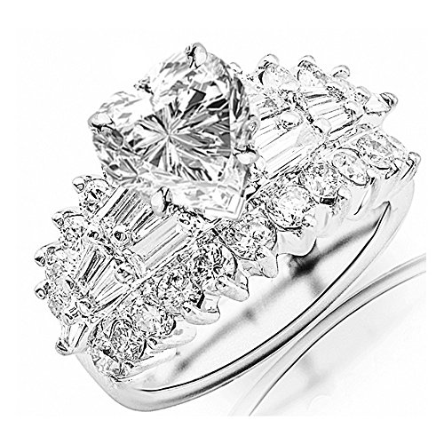 2.9 Carat t.w. GIA Certified Heart Cut Platinum Exquisite Prong Set Bageutte and Round Diamond Engagement Ring (I-J Color VS1-VS2 Clarity Center Stones)