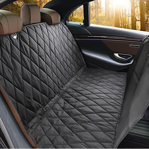 Cheap Car Seat Protector Car Pet Seat Cover Dog Car Seat Covers Hammock Side Flaps Black Quilted Padded MT MALL Water Resistant and Washable Non-slip Pet Dog Back Seat Covers with Seat Anchors free shipping