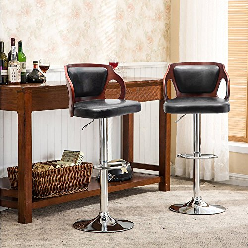 Homall Bar Stools Walnut Bentwood Adjustable Height Leather Modern Barstools with Back Vinyl Seat Extremely Comfy Bar Stool 1 Piece (Black)