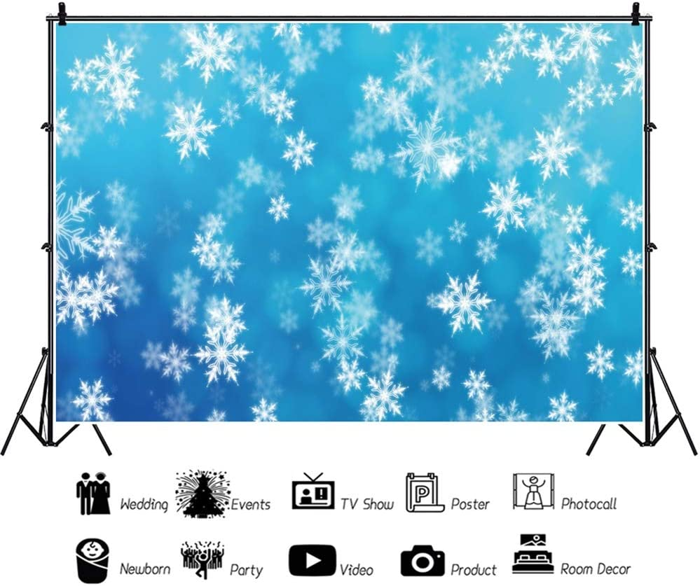 Leowefowa Dreamlike Flying Snowflakes Wonderland Backdrop 10x6.5ft Child Baby 1st Birthday Vinyl Photography Background Wintery Baby Shower Cake Smash Dessert Table Decor Kids Photo Booth Props