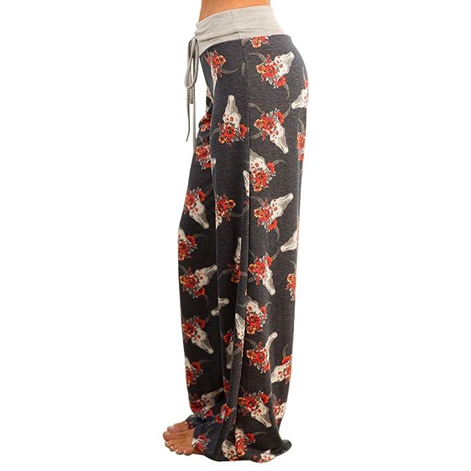Pantaloni Dritti Donna con Coulisse Vita Alta Baggy Hip Hop Harem Danza  Trousers Stampa Floreale Leggins Boho Hippie Pantalone Lungo Estivo per  Yoga Jogging ... 455070d7f3d7