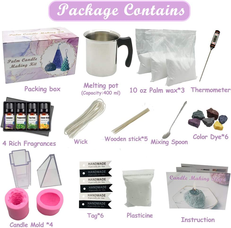 Easy to Make Modeling Candle Palm Candle Making Supplies Wax and Accessory DIY Set for The Making of Ice Candles