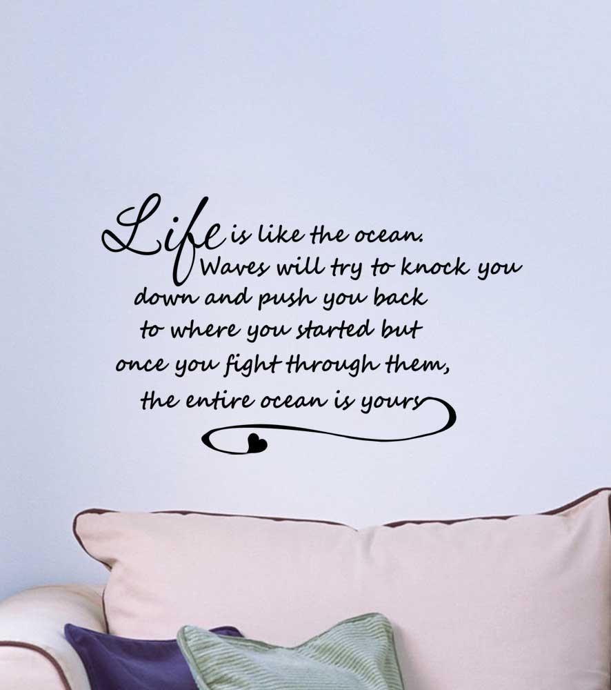 Amazoncom Wall Decal Life Is Like The Ocean Waves Will Try To - Wall decals beach quotes