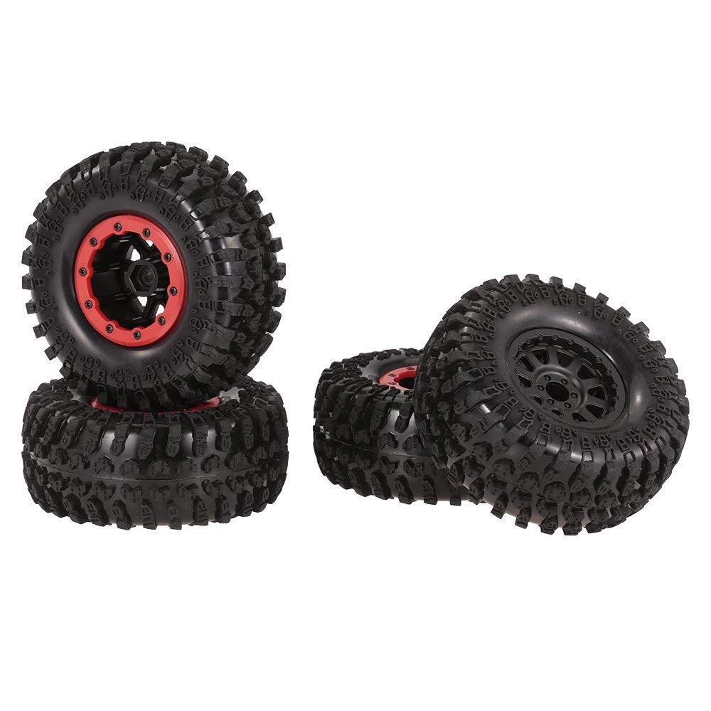 4PCS 2.2'' 130mm Rubber Tires - Beadlock Wheel Rim for 1/10 RC Rock Crawler Car Axial SCX10 RC4WD D90 Wraith Yeti RC Car