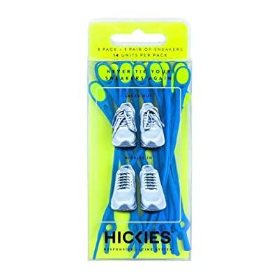 HICKIES 1.0 No-Tie Elastic Shoelaces - Blue Yellow (One-Size Fits All, 14 Laces, Works in All Shoes): Shoes