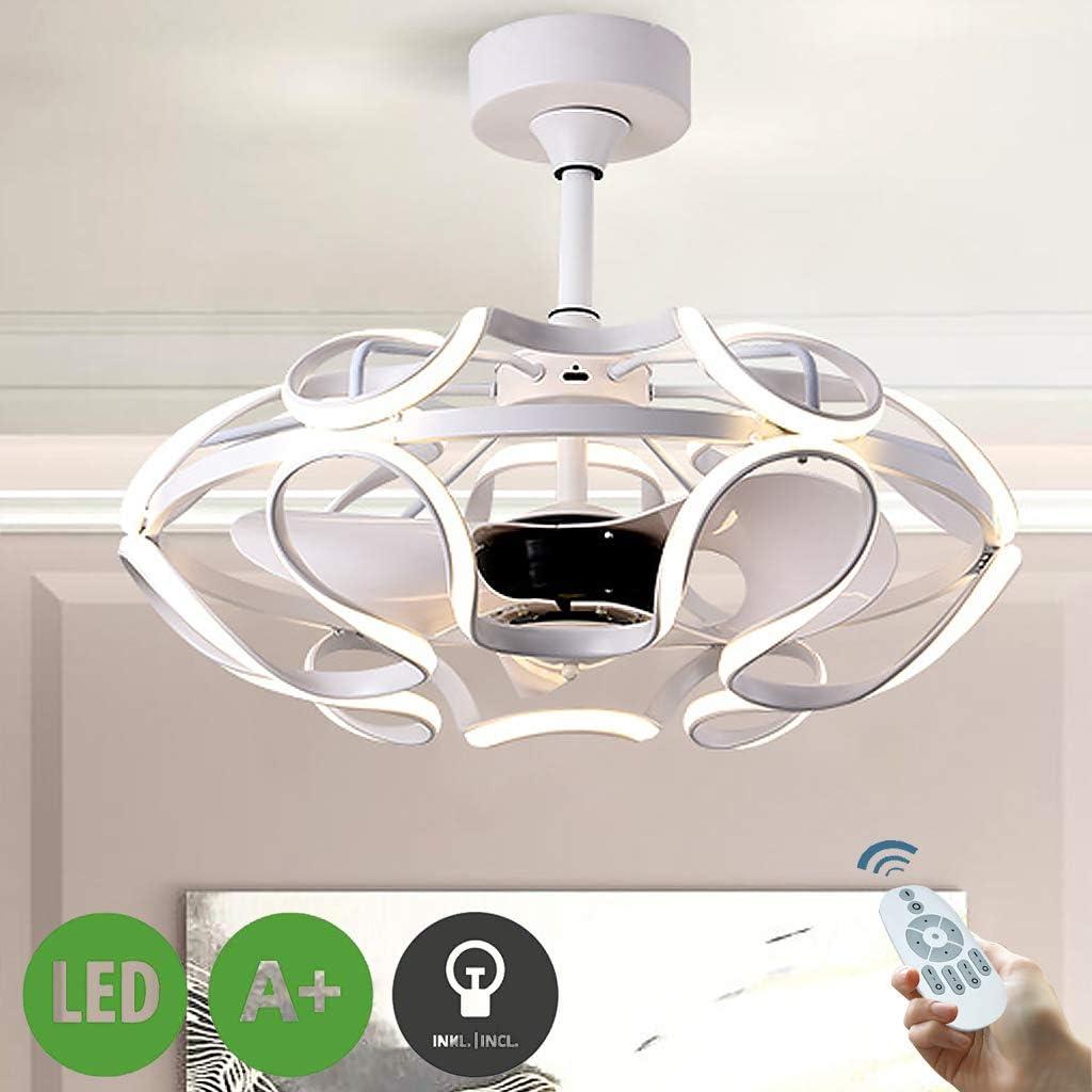 Ventilador LED Luz De Techo Ventilador Regulable Guardería Moderna Iluminación Ultra Silencioso Lámpara Techo Invisible Culantrillo Luces Plafon Comedor Remoto,Blanco