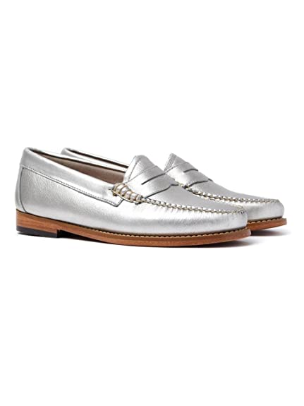18dac808644 GH Bass Women s Weejun Penny Metal Loafer - Silver Leather  Amazon ...