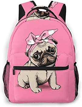 Pug Puppy Santa Print Laptop Backpack High School Bookbag Casual Travel Daypack